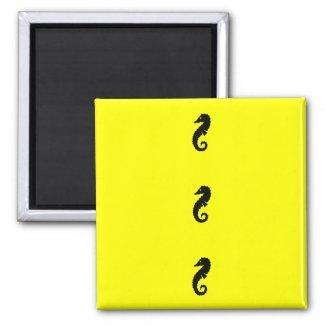 Ocean Glow_Black-on-Yellow Seahorse magnet