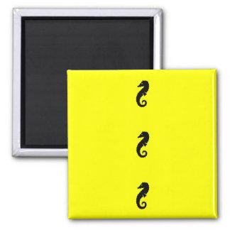 Ocean Glow_Black-on-Yellow Seahorse Refrigerator Magnets