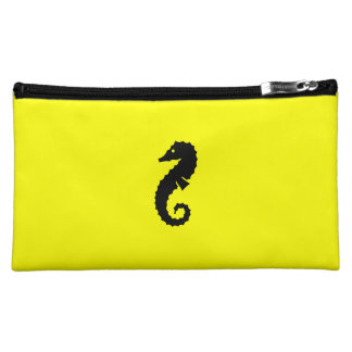Ocean Glow_Black-on-Yellow Seahorse Makeup Bag
