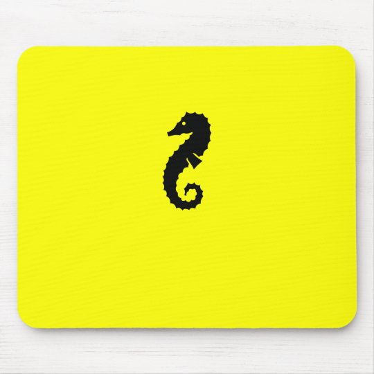 Ocean Glow_Black-on-Yellow Seahorse Mouse Pad