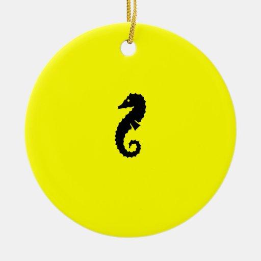 Ocean Glow_Black-on-Yellow Seahorse necklace Ceramic Ornament