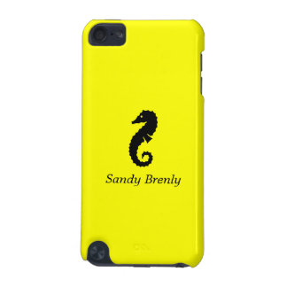 Ocean Glow_Black-on-Yellow Seahorse_personalized iPod Touch 5G Case