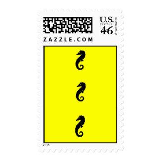 Ocean Glow_Black-on-Yellow Seahorse postage