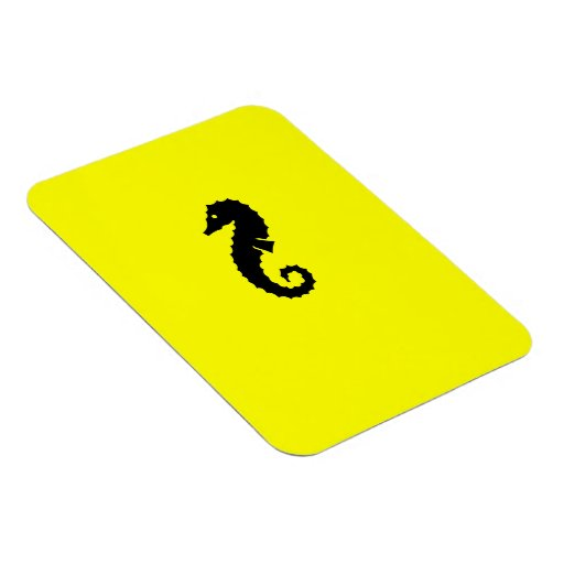 Ocean Glow_Black-on-Yellow Seahorse Rectangle Magnet