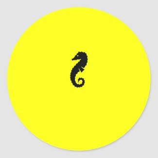 Ocean Glow_Black-on-Yellow Seahorse sticker
