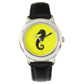 Ocean Glow_Black-on-Yellow Seahorse Wrist Watch
