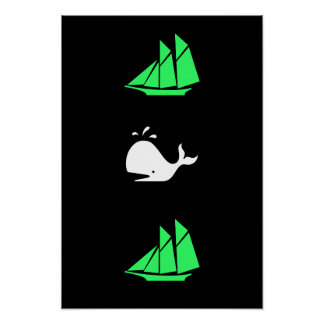 Ocean Glow_green clipper white whale multi-icon Poster