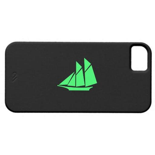 Ocean Glow_Green-on-Black Clipper Ship iPhone 5 Case