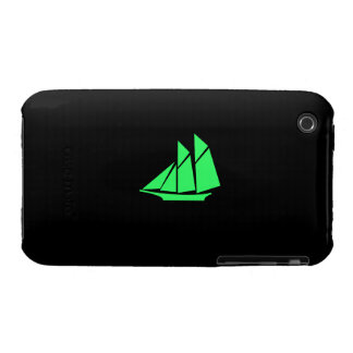 Ocean Glow_Green-on-Black Clipper Ship Case-Mate iPhone 3 Case
