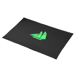 Ocean Glow_Green-on-Black Clipper Ship Cloth Placemat