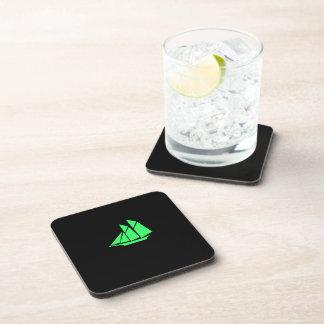 Ocean Glow_Green-on-Black Clipper Ship Drink Coaster