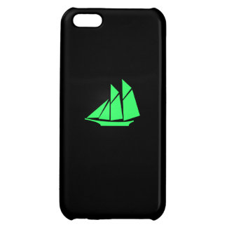 Ocean Glow_Green-on-Black Clipper Ship iPhone 5C Covers