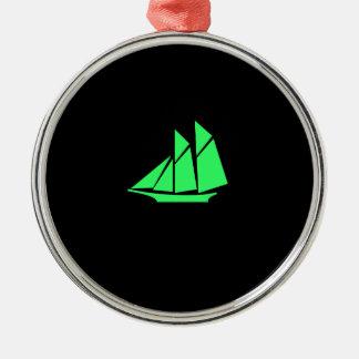 Ocean Glow_Green-on-Black Clipper Ship Ornaments