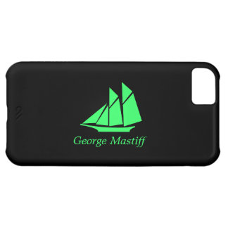 Ocean Glow_Green-on-Black Clipper Ship_personalize iPhone 5C Cases