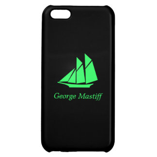 Ocean Glow_Green-on-Black Clipper Ship personalize iPhone 5C Cases