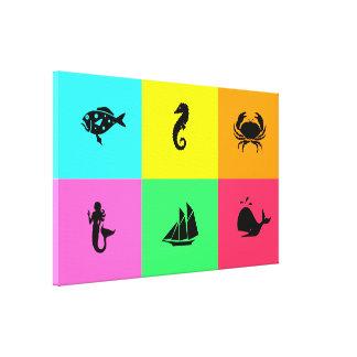 Ocean Glow_multi-color multi-icon Canvas Print