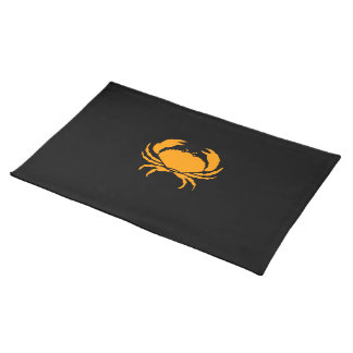 Ocean Glow_Orange on Black Crab Cloth Placemat