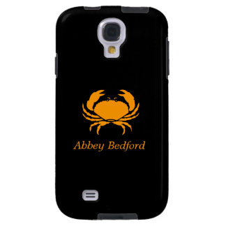 Ocean Glow_Orange on Black Crab_personalized Galaxy S4 Case