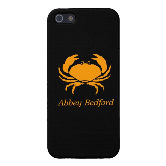 Ocean Glow_Orange-on-Black Crab_personalized Case For iPhone SE/5/5s