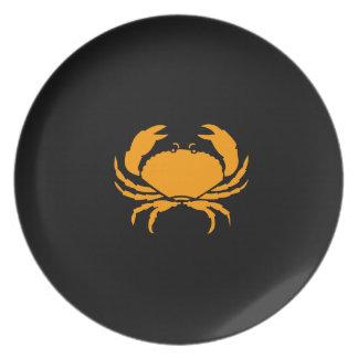 Ocean Glow_Orange on Black Crab Party Plates