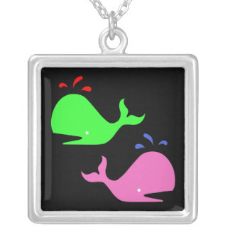 Ocean Glow_Pink & Green on Black Whales Square Pendant Necklace
