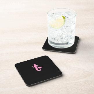 Ocean Glow_Pink-on-Black Mermaid Beverage Coaster