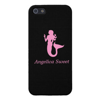 Ocean Glow_Pink-on-Black Mermaid_personalized Case For iPhone SE/5/5s