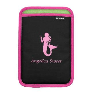 Ocean Glow_Pink on Black Mermaid_personalized iPad Mini Sleeves
