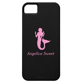 Ocean Glow_Pink-on-Black Mermaid_personalized iPhone SE/5/5s Case