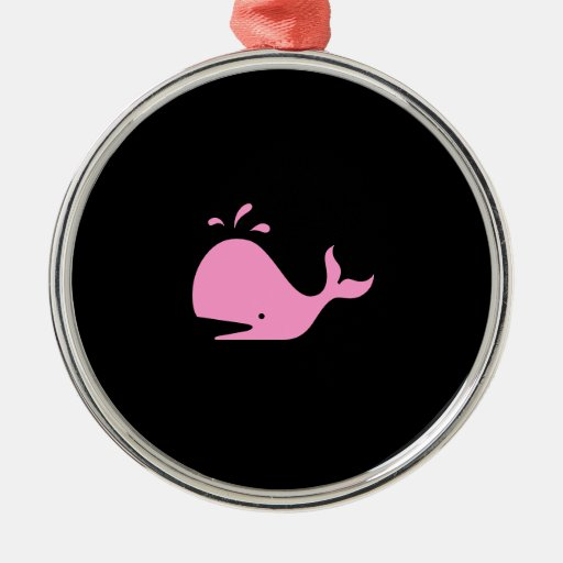 Ocean Glow_Pink-on-Black Whale necklace Christmas Ornaments