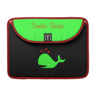 Ocean Glow_Spouty Whale Bright Green personalized Sleeve For MacBook Pro