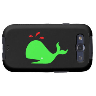 Ocean Glow_Spouty Whale Bright Green,Red Galaxy SIII Case