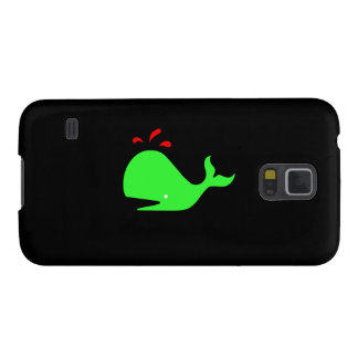 Ocean Glow_Spouty Whale Bright Green, Red Galaxy S5 Case