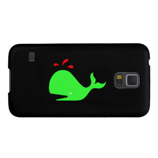 Ocean Glow_Spouty Whale Bright Green,Red Galaxy S5 Covers