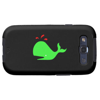 Ocean Glow_Spouty Whale Bright Green, Red Samsung Galaxy S3 Cover