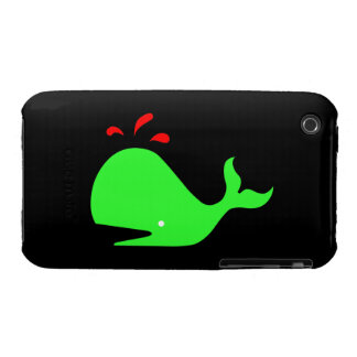 Ocean Glow_Spouty Whale Bright Green,Red iPhone 3 Cases