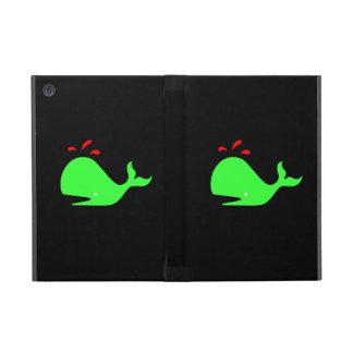 Ocean Glow_Spouty Whale Bright Green, Red iPad Mini Case