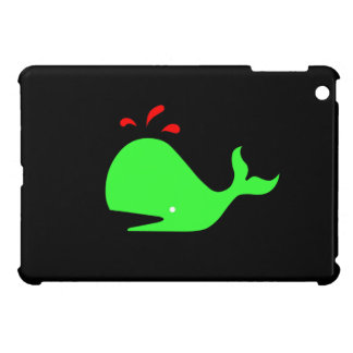 Ocean Glow_Spouty Whale Bright Green, Red Cover For The iPad Mini