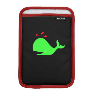 Ocean Glow_Spouty Whale Bright Green,Red iPad Mini Sleeves