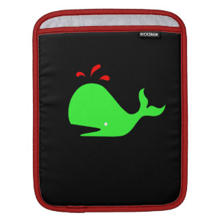 Ocean Glow_Spouty Whale Bright Green,Red iPad Sleeves