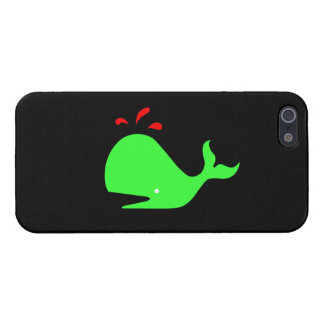 Ocean Glow_Spouty Whale Bright Green,Red Covers For iPhone 5