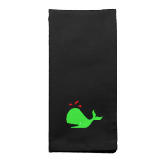 Ocean Glow_Spouty Whale Bright Green, Red Cloth Napkins