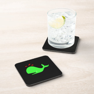Ocean Glow_Spouty Whale Bright Green,Red on black Drink Coasters