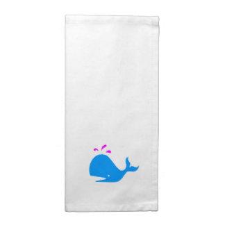 Ocean Glow_Spouty Whale Ocean Blue, Magenta Cloth Napkin