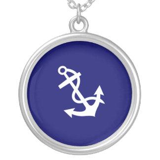Ocean Glow_white anchor pendant charm necklace