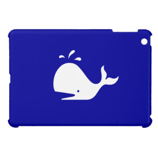 Ocean Glow_White-on-Blue Whale iPad Mini Cases
