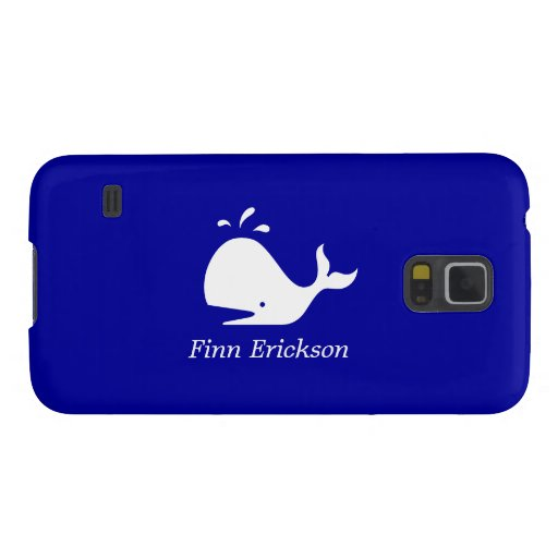 Ocean Glow_White-on-Blue Whale_personalized Galaxy S5 Cases