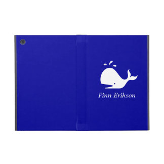 Ocean Glow_White-on-Blue Whale personalized iPad Mini Covers