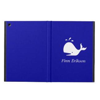 Ocean Glow_White-on-Blue Whale personalized iPad Air Covers