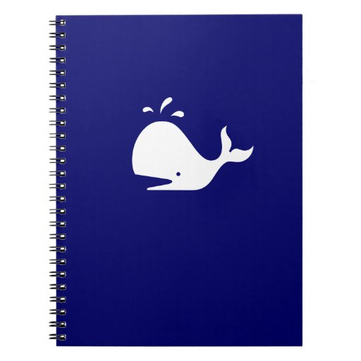 Ocean Glow_White-on-Blue Whale Spiral Notebooks